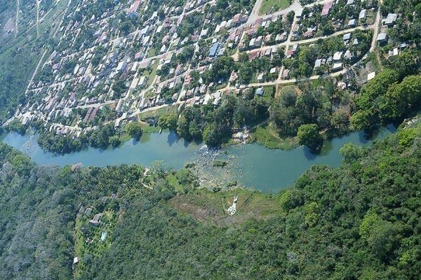 Aerial of Benque Viejo del Carmen, Cayo.