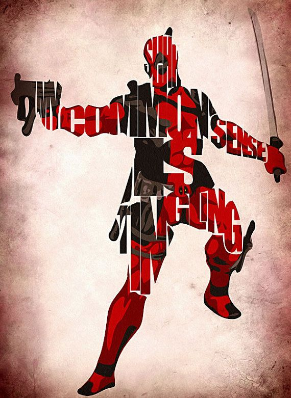 """""""Shhh...My common sense is tingling!"""" Deadpool Typographic Poster - Take that Spidey senses!  // by GeekMyWalL on Etsy, $25.00"""