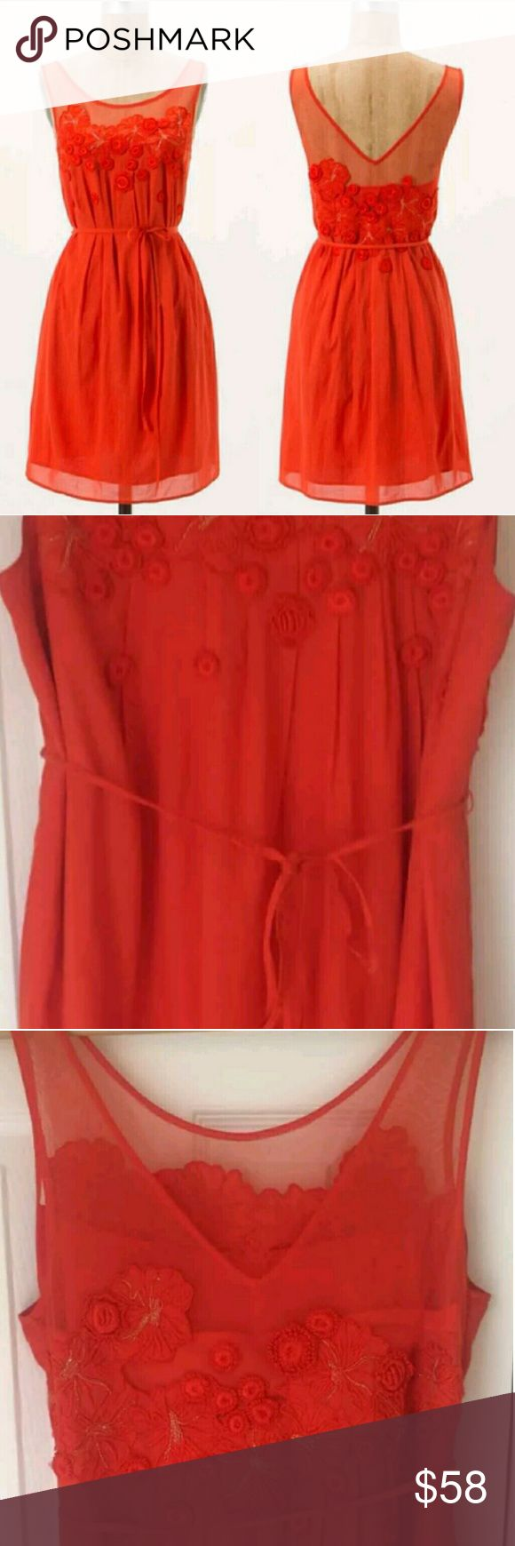 🆕Anthropologie✨ Blood Orange Tea Dress Brand new without tags! Purchased for a wedding and never returned it. Beautifully embroidered sheer neckline is only the beginning of Meadow Rue's whimsical frock. Gorgeous flowers adorn the bust! Truly lovely detail. Perfect for a special event and very figure flattering!💗 Line marked through brand to prevent store return. Blood orange. Soft fabric & easy to care for!👍  By Meadow Rue Removable belt Pullover styling Rayon, cotton; polyester lining…
