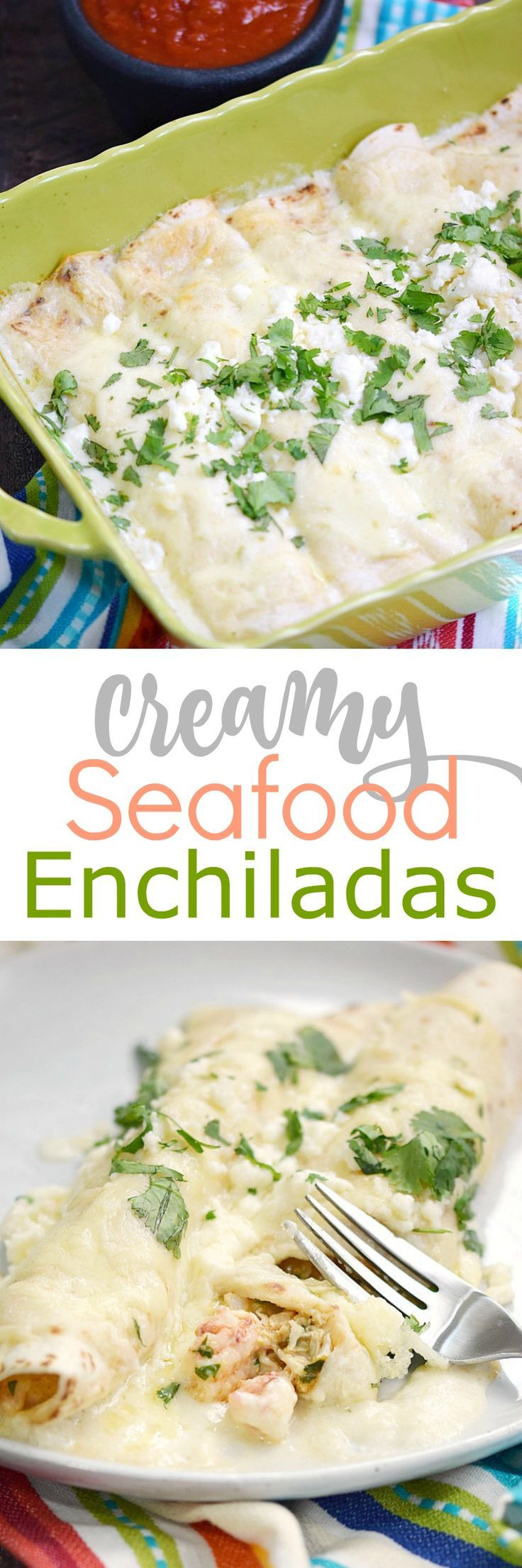 Msg 4 21+ These Creamy Seafood Enchiladas are packed full of shrimp and crab in a creamy and delicious sauce that isn't too spicy or too bland! cookingwithcurls.com #CervezaCelebration #ad