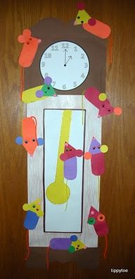preK hickory dickory dock craft. Each student makes a mouse for 1 clock or each student makes their own clock & mouse