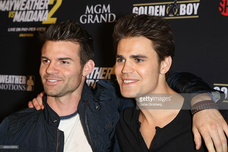 Actors Daniel Gillies (L) and Paul Wesley arrive at Showtime's VIP prefight party for 'Mahem: Mayweather vs. Maidana 2' at the MGM Grand Garden Arena on September 13, 2014 in Las Vegas, Nevada.