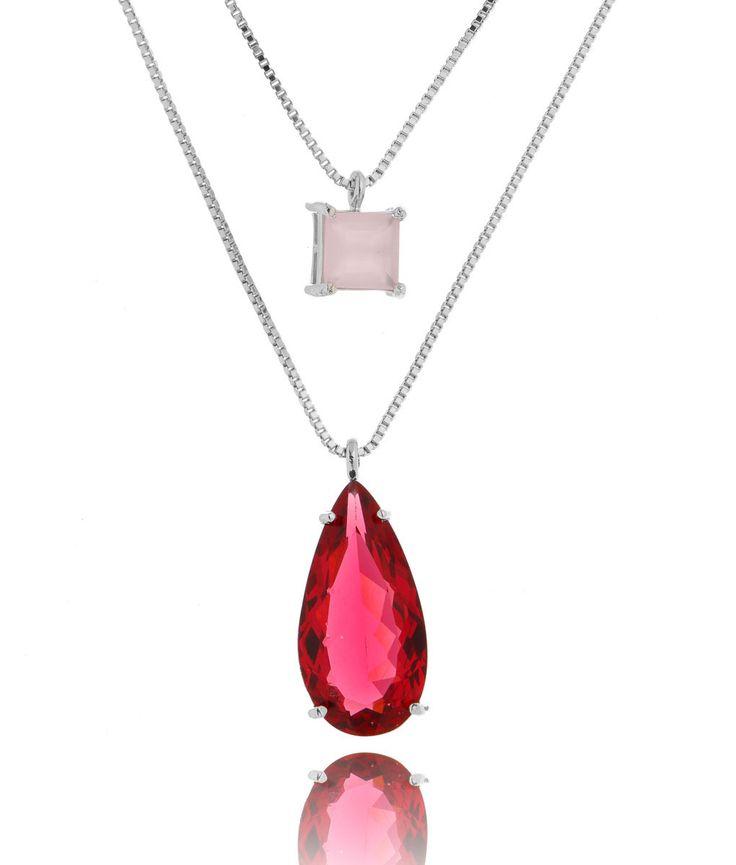 Colar duplo gota alongada rubelita e quadradinho rosa quartzo