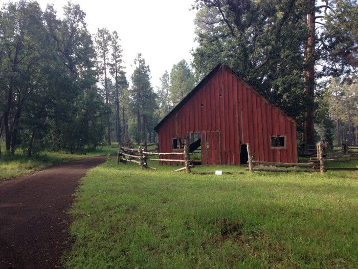 1. Let's start with this classic, red barn found in Pinetop. For most people, at first glance, it almost doesn't look like Arizona.