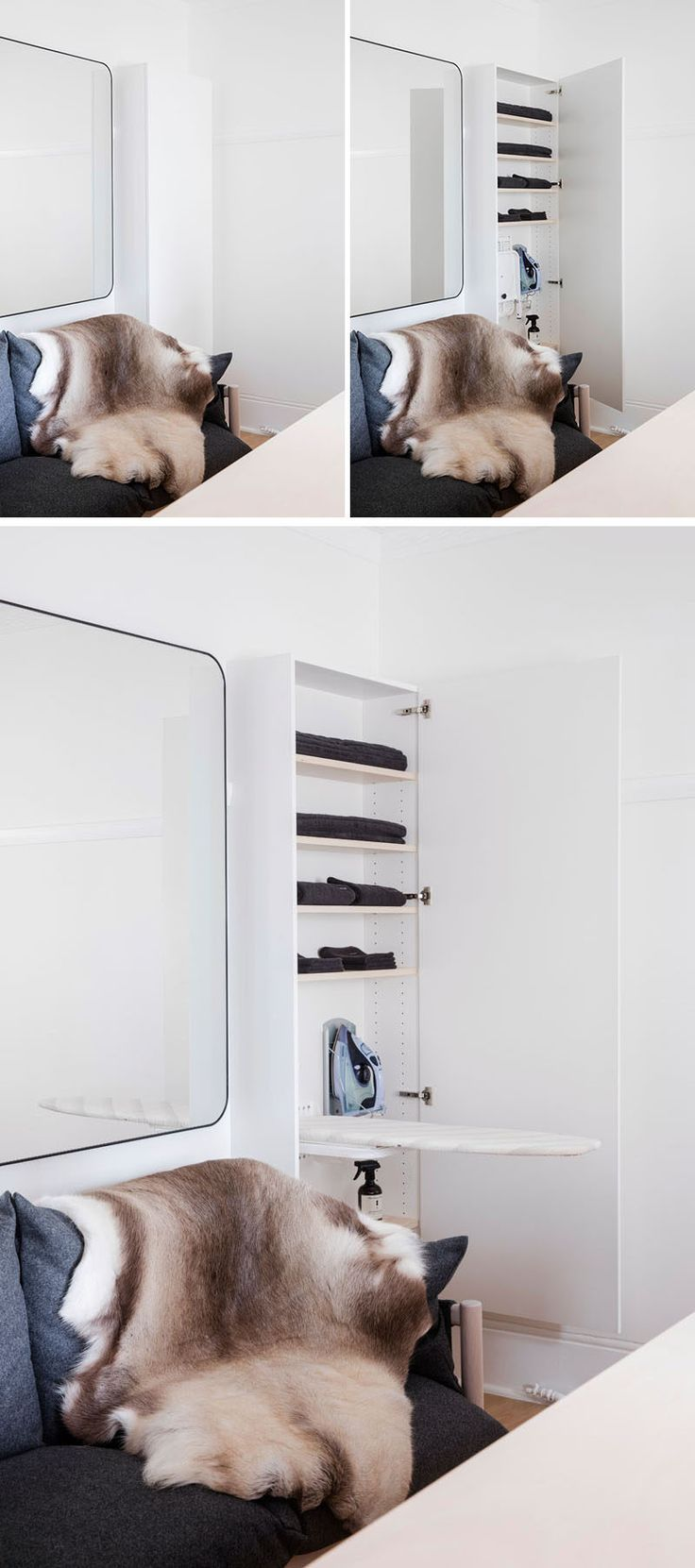 In this small apartment, and off to the side of the couch is a vertical cabinet that houses a fold-out ironing board.
