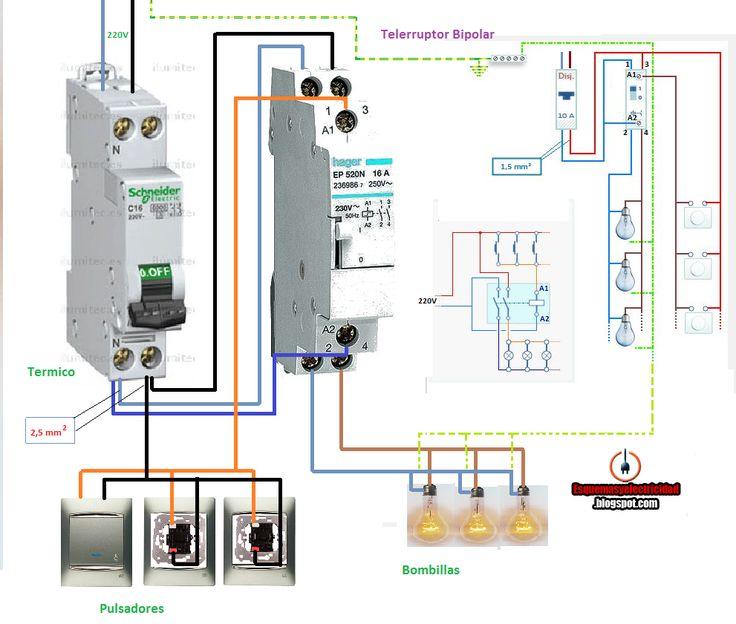 Esquemas eléctricos: COMO CONECTAR TELERRUPTOR BIPOLAR