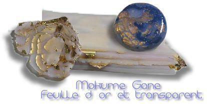 Mokume gane tutorial using translucent clay and gold leaf.