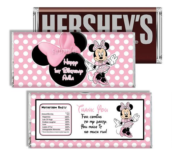 MINNIE MOUSE Printable Candy Bar Wrappers by MyCelebrationShoppe, $3.50