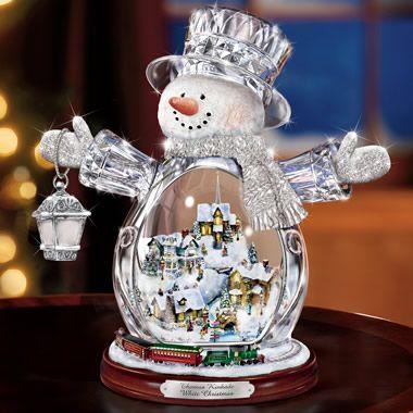 The Thomas Kinkade Illuminated Crystal Snowman. - Hammacher Schlemmer