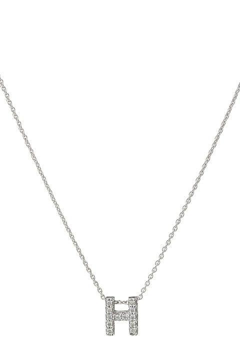 Roberto Coin Roberto Coin Diamond Initial Necklace (White Gold-H) Necklace - Roberto Coin, Roberto Coin Diamond Initial Necklace, 001634AWCHXH, Jewelry Necklace General, Necklace, Necklace, Jewelry, Gift, - Street Fashion And Style Ideas