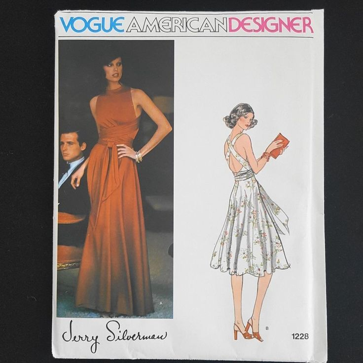 Vintage UNCUT Vogue Designer Pattern JERRY SILVERMAN #1549  Sz 14 EVENING DRESS
