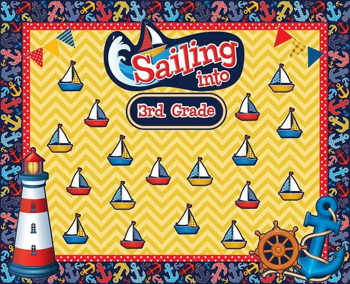Fun nautical bulletin board idea for preschool, kindergarten, and elementary grades. For more bulletin board ideas visit: http://www.mpmschoolsupplies.com/ideas/4862/sailing-into-third-grade-nautical-themed-welcome-board/