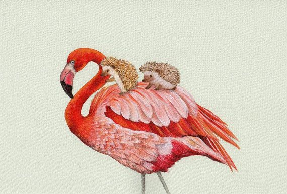 Flamingo en egels Alice in Wonderland Croquet kunst door TinyRed