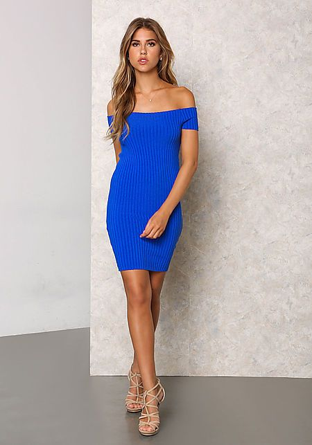 Royal Blue Thick Ribbed Knit Off Shoulder Bodycon Dress - Bodycon - Dresses