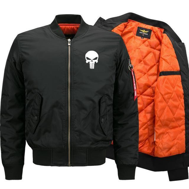 New Blouson Homme Plus Size M-6Xl Man And Woman Bomber Jacket Design Skulls Punisher Jackets Coat Fashion Casual Male Jacket