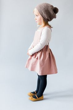 Toddler Pinafore Dress - Toddler Dress - Vintage Girls Dress- 2T, 3T, 4T, 5T Rose Linen