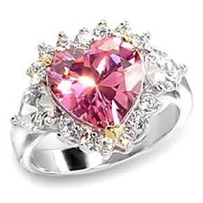 3 1/2 Ct. Pink CZ Heart Engagement/Bridal/Cocktail Ring R/Plated Sz 8