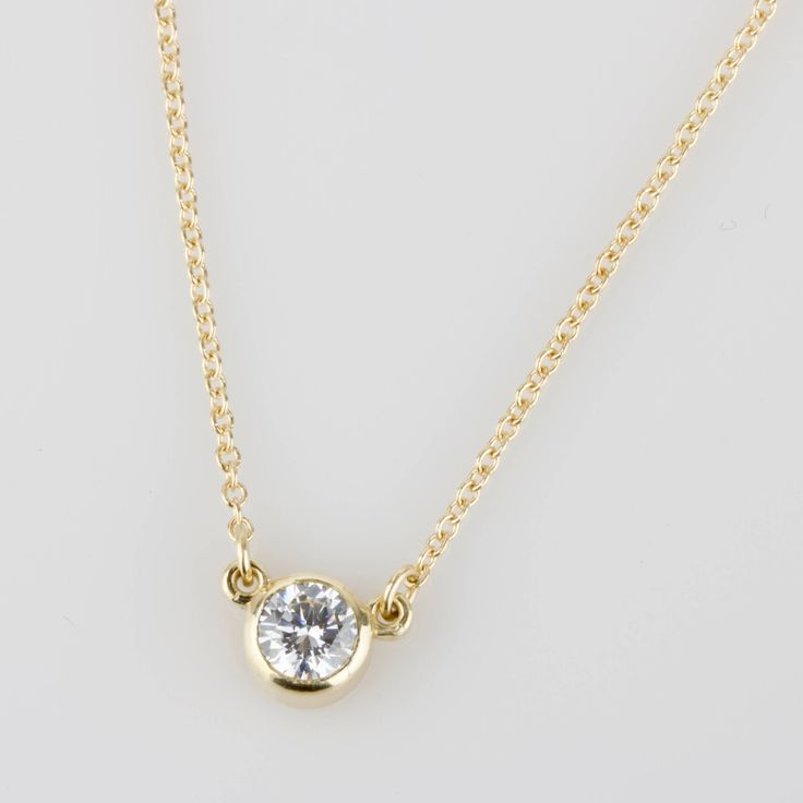 "Diamond Solitaire Necklace - Solid 14k Gold - Rose or White or Yellow Gold - 18"" Chain"