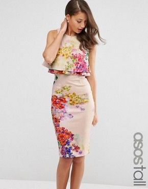 ASOS TALL  Midi Pencil Dress With Double Ruffle In Floral Print