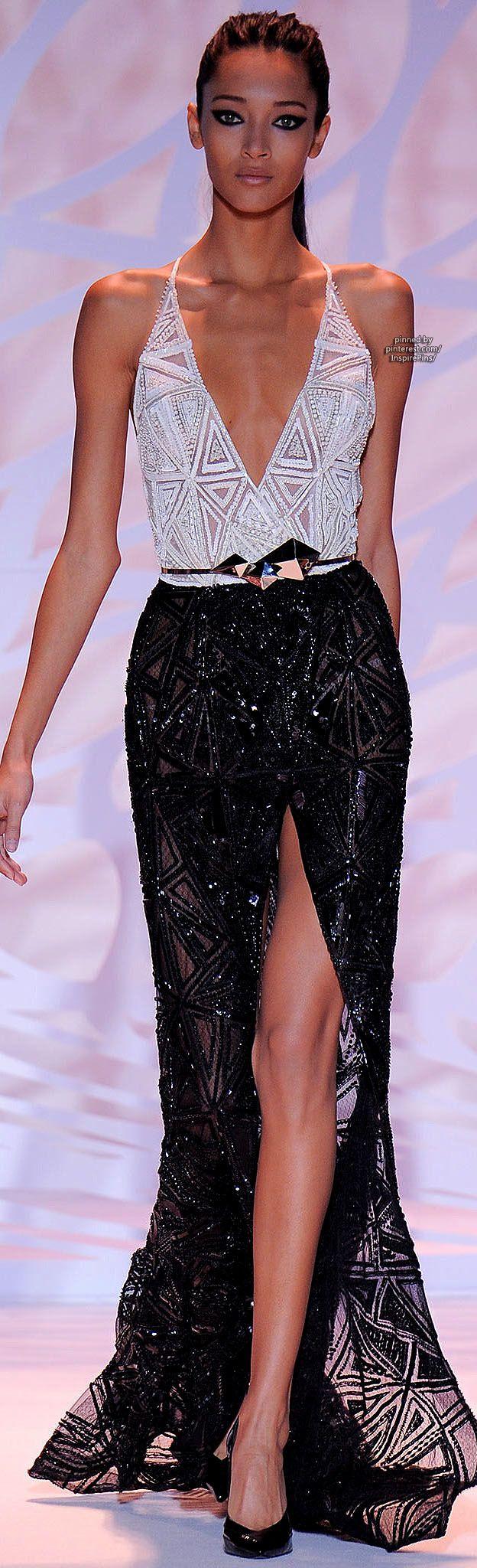 Fall 2014 Couture Zuhair Murad, black and white dress, beautiful, runway, fashion