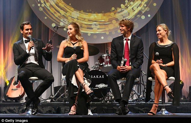 Story time: The Swiss players were then joined by Alexander Zverev and Angelique Kerber of Germany for a interview on stage