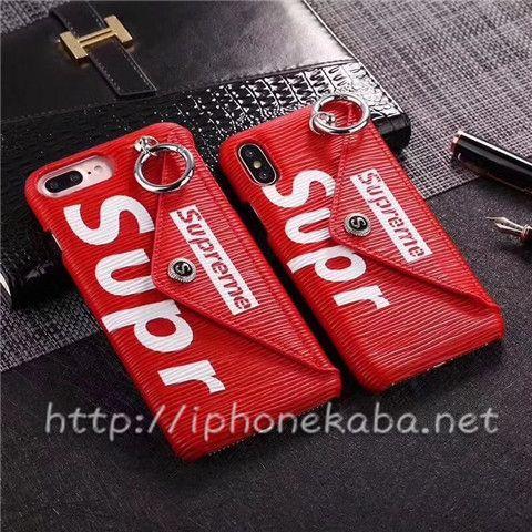 アメリカ 潮牌 iphoneX ケース シュプリーム 封筒デザインポケット付きのiphone8 ケース Supreme 7 plus ジャケットカバー キーリング スナップ 紙幣入れ カード入れ可能 利便