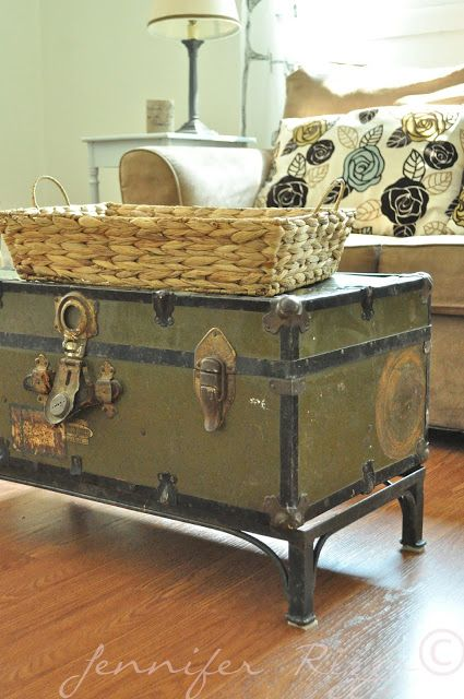 I love using vintage trunks as tables. They make great storage, too--I use mine for fabric and yarn.