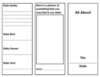 Have students fill out this informational brochure as they research one of the 50 states.  Students will have to find the state capital, major cities, bodies of water, industries of the state, states that border, state motto, state bird, state flower, and state tree.
