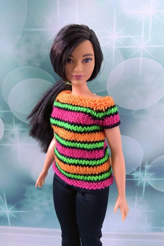 Curvy Barbie doll clothes handmade hand-knitted sweater with