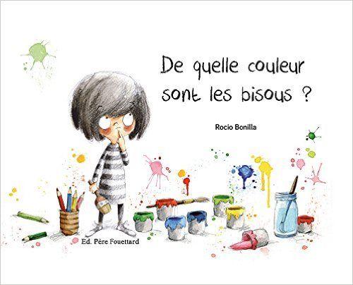 """""""Minimoni adore peindre ! Elle a déjà peint des fusées, des gorilles, des fleurs, et voilà qu'elle aimerait dessiner un bisou. Mais... de quelle couleur sont les bisous ?"""" Voici un joli libre avec d"""