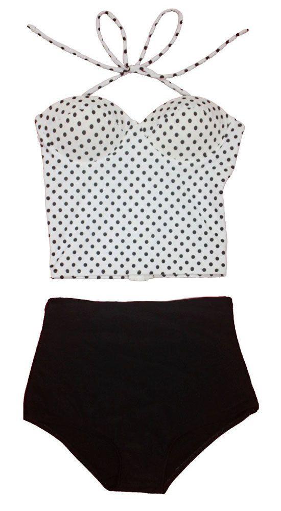 Polka Dot Retro High Waist Swimsuit (White Polka dots Long Top and Black Shorts Bottom) High Waisted Highwaist Swimsuits Swimwears S M L ~Etsy