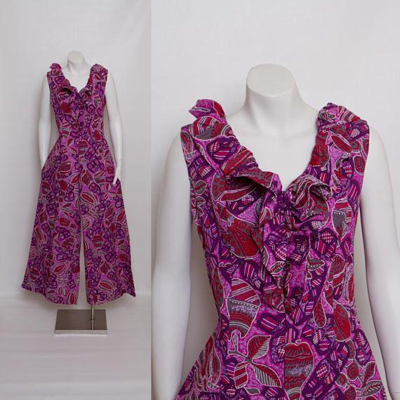 1960s palazzo jumpsuit  purple Hawaiian print