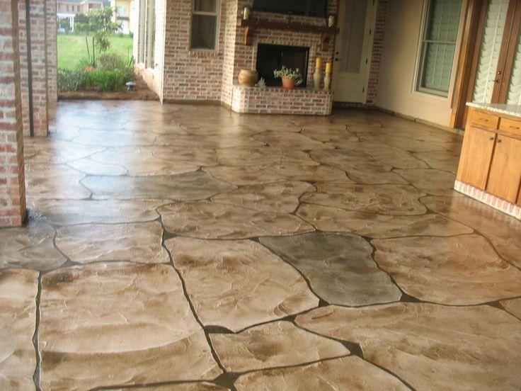 Hand made faux flagstone favorite basement flooring for Diy stone floor