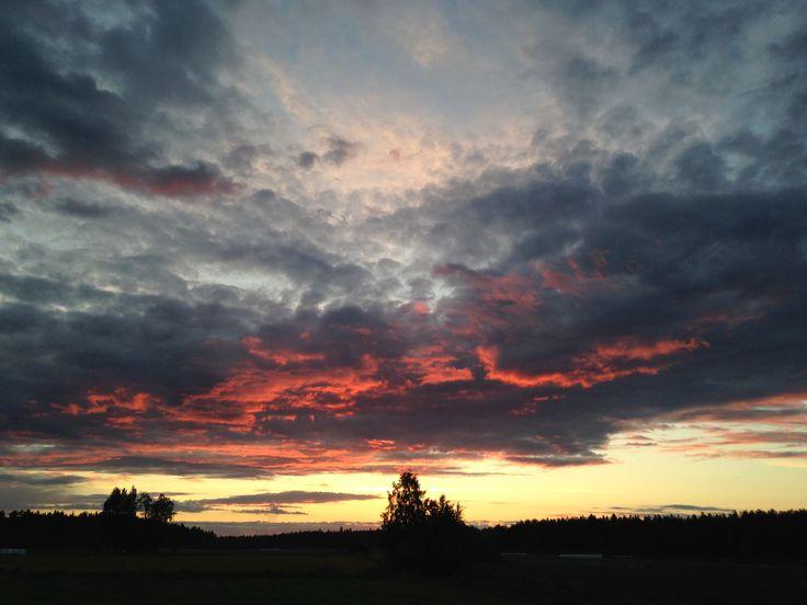 Sunset in Haapajärvi, Finland.