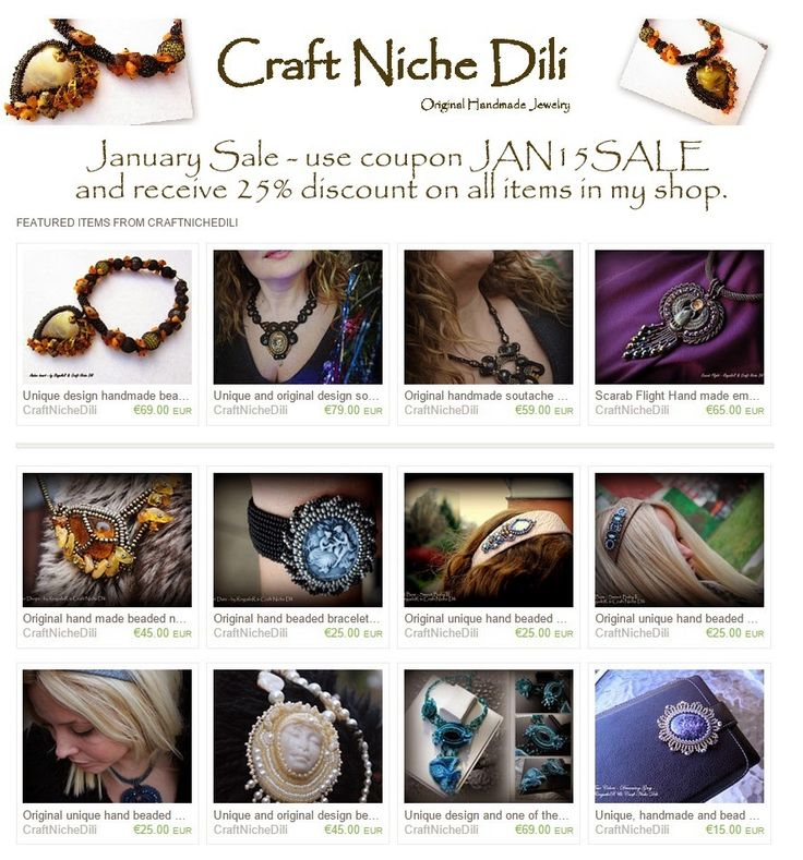 """Craft Niche """"Dili"""": January sale all January - special promotional sale - 25% on all items. Just visit my Etsy store and use coupon - JAN15SALE to claim your discount.  https://www.etsy.com/shop/CraftNicheDili"""