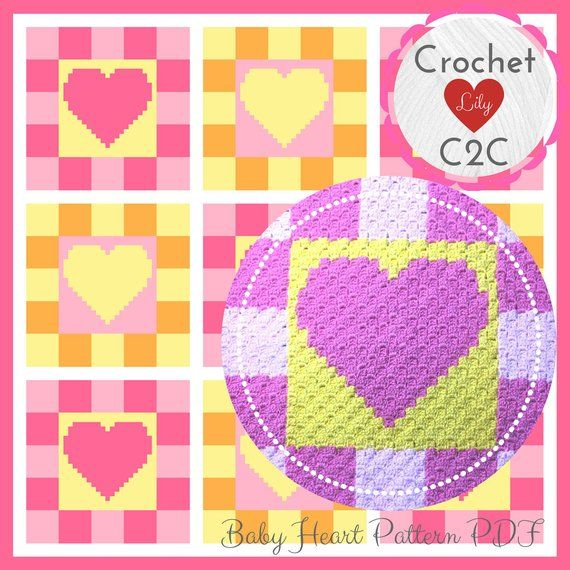 Baby Heart Blanket - C2C Crochet Pattern Blanket - INSTANT DOWNLOAD