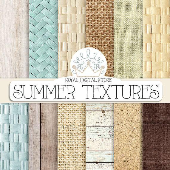 """Spiaggia Digital Paper: """"estate texture carta digitale"""" con struttura di legno, struttura della paglia, tela di ragno, priorità bassa della parete di lino, crudo, trame di mare"""