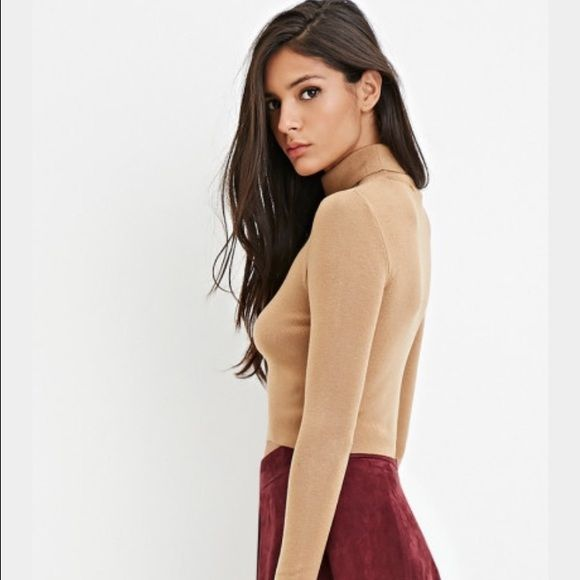 ✨ NEW Forever 21 Camel Crop Turtleneck Top camel color, turtleneck, crop top // i have this in other colors but never wore this one, its super cute and although it is a medium it still fits me nice (im a small) Tops Crop Tops