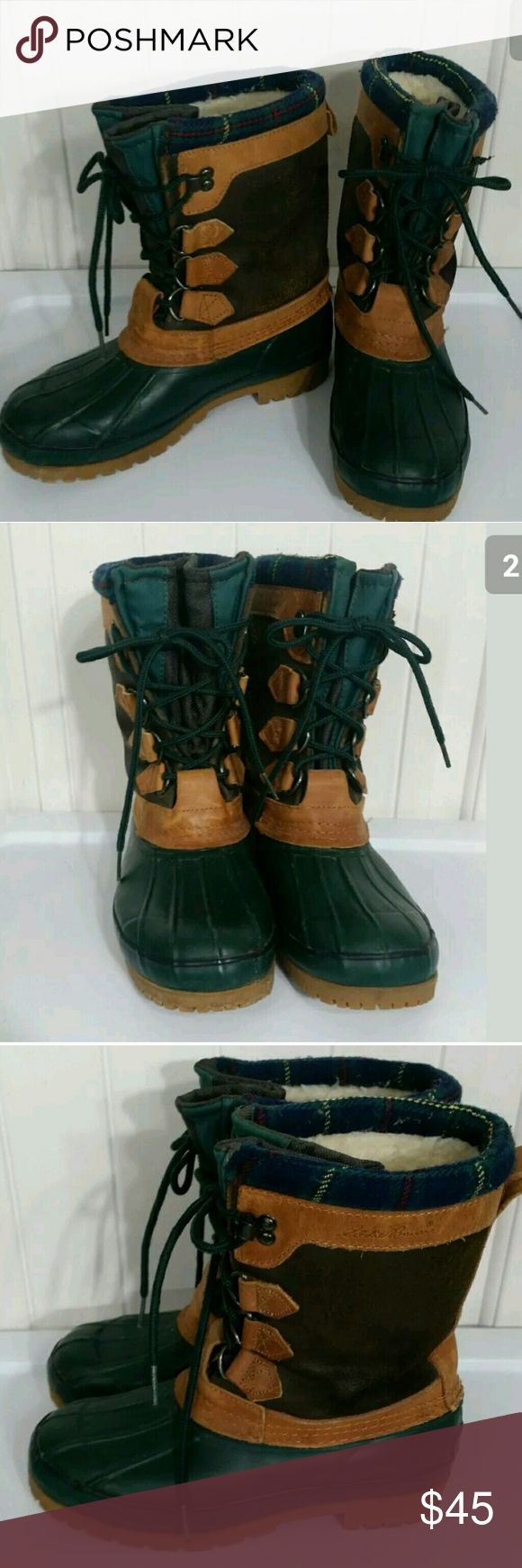 Vintage women's duck Bean boots Eddie Bauer Sz 7 Vintage Duck Bean Boots Womens Eddie Bauer Brown Leather Green Rubber Hunting Rain Shoes Size 7 - EXCELLENT PREOWNED CONDITION, SUPER MINIMAL USE, IF ANY!  Type: Shoes Style: Duck Waterproof Hunting Boots Brand: Eddie Bauer Size: Women's 7 Material: Leather & Rubber Color: Brown Green Condition: Excellent Preowned Condition, super minimal use!  Stock Number: 0011 Vintage Shoes Winter & Rain Boots