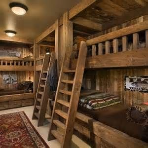Bedroom Log Cabin Decorating Design, would love this in a cabin in Colorado!