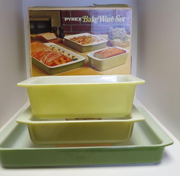 """VTG Pyrex """"Avocado"""" Bakeware Set NIB Verde Green Yellow 913 922 933"""