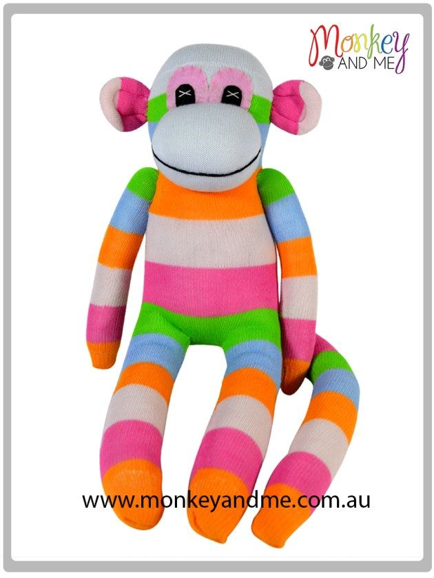 White Orange Pink Green wide stripe Sock Monkey Adopt over at monkeyandme.com.au #sockmonkeys #gifts #toys #monkey