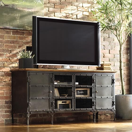 TV stand made stylish It s the perfect plement to an industrial