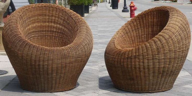 $3800 Pair of Wicker Chairs Attributed to Isamu Kenmochi | From a unique collection of antique and modern chairs at https://www.1stdibs.com/furniture/seating/chairs/