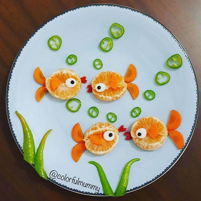 Balıklar aile toplantısında... Fish are at family meeting... mandalina, havuç, biber  tangerine, carrot, pepper  #fish #blwturkiye