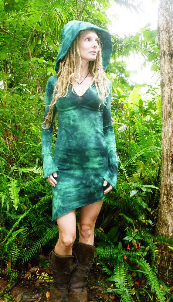 Mini Pixie Dress Goddess Hemp Lycra Hoodie Long by Wyldeskye, $105.00