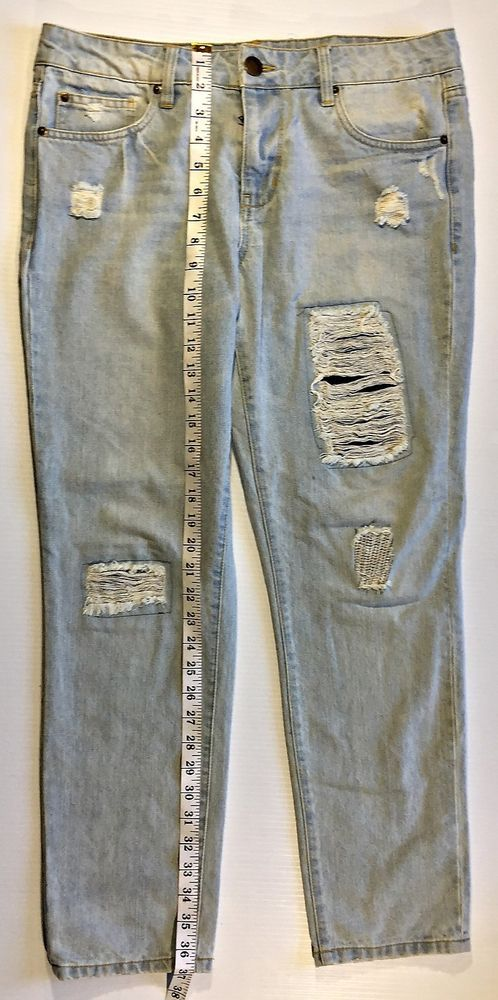 Life In Progress Womens Distressed Jeans with Patches size 28 #LifeinProgress #BootCut
