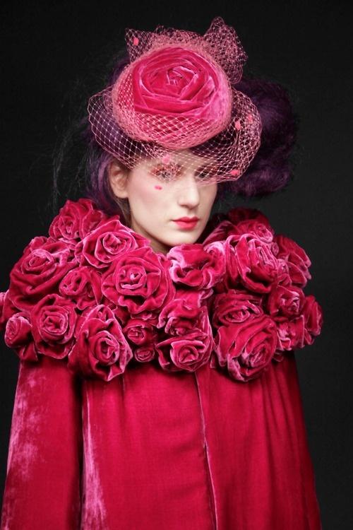 do you love roses? from eclektic: Designer Elisa Palomino A/W 2012: Hats, Red, Elisa Palomino, Hot Pink, Pink Rose, Pink Velvet, Flower, Coats, London Fashion Weeks