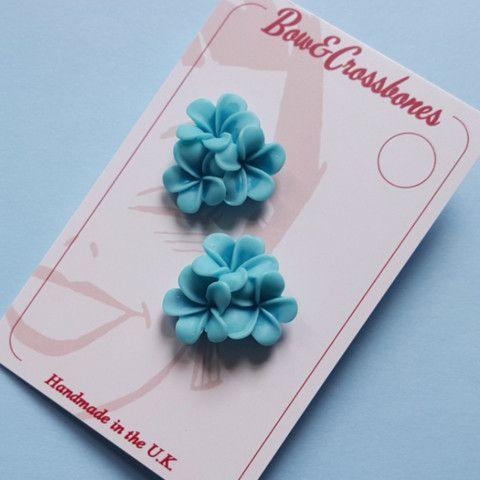 Tiki flower stud earrings - Blue, , Earrings, Bow & Crossbones, Bow & Crossbones   - 1