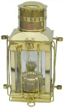 Cargo-Lampe Messing, Petroleumbrenner, H: 38cm
